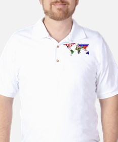 World Map With Flags Golf Shirt