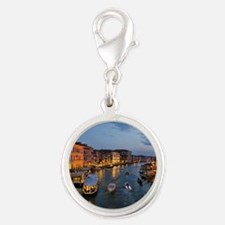 VENICE CANAL Silver Round Charm