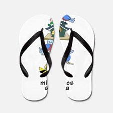 Colorful Bird Houses and Birds Spanish Flip Flops
