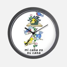 Colorful Bird Houses and Birds Spanish Wall Clock