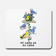 Colorful Bird Houses and Birds Spanish L Mousepad