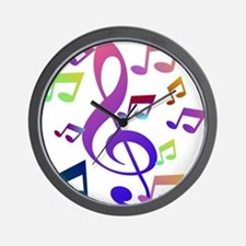 Key sol and music note Wall Clock