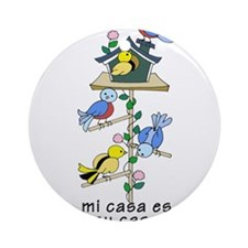 Colorful Bird Houses and Birds Span Round Ornament
