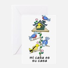 Colorful Bird Houses and Birds Span Greeting Cards