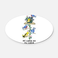 Colorful Bird Houses and Birds Spa Oval Car Magnet