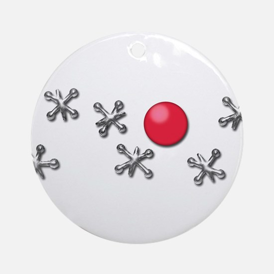 Old Fashioned Ball and Jacks Game Round Ornament