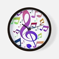 Key sol and music notes Wall Clock