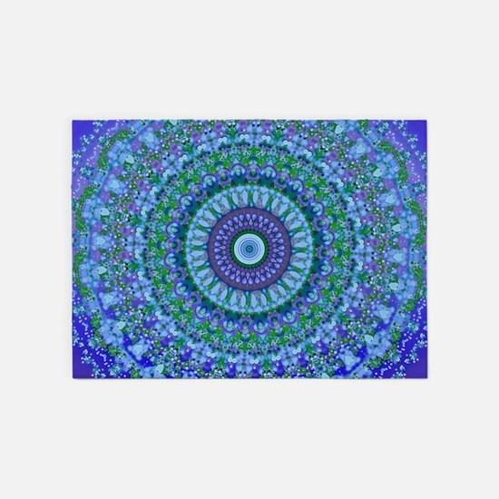 Blue Spirit Mandala 5'x7'Area Rug