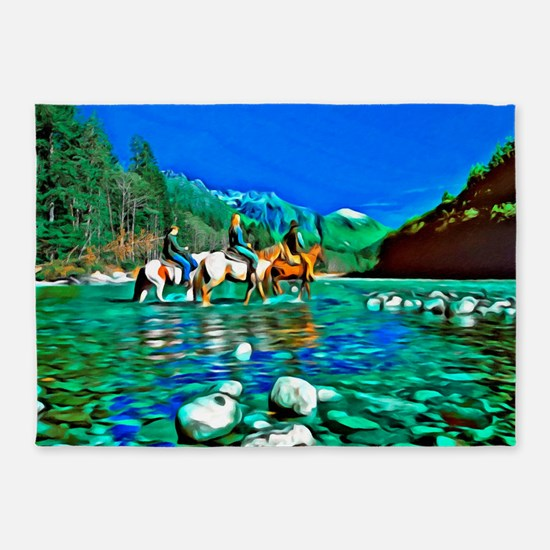 River Crossing (landscape) 5'x7'Area Rug