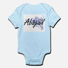 Abagail Artistic Name Design with Flower Body Suit