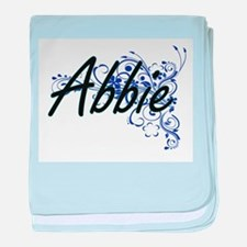 Abbie Artistic Name Design with Flowe baby blanket