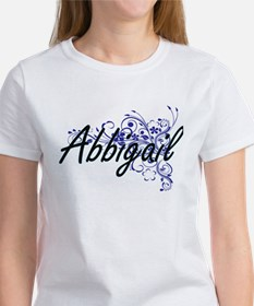 Abbigail Artistic Name Design with Flowers T-Shirt