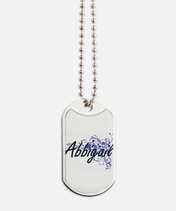 Abbigail Artistic Name Design with Flower Dog Tags