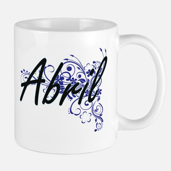 Abril Artistic Name Design with Flowers Mugs