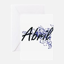 Abril Artistic Name Design with Flo Greeting Cards