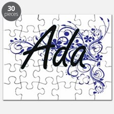Ada Artistic Name Design with Flowers Puzzle