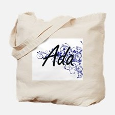 Ada Artistic Name Design with Flowers Tote Bag