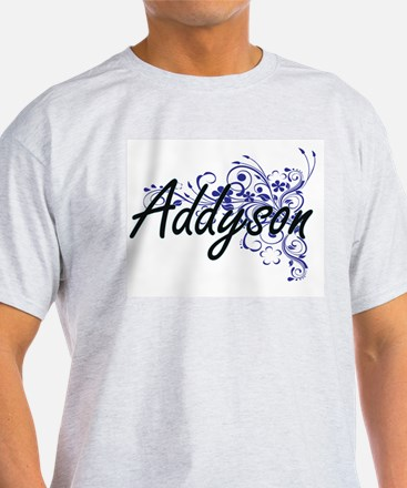 Addyson Artistic Name Design with Flowers T-Shirt