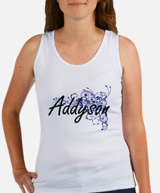 Addyson Artistic Name Design with Flowers Tank Top