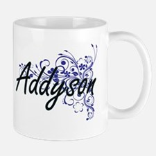 Addyson Artistic Name Design with Flowers Mugs