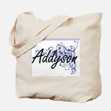 Addyson Artistic Name Design with Flowers Tote Bag