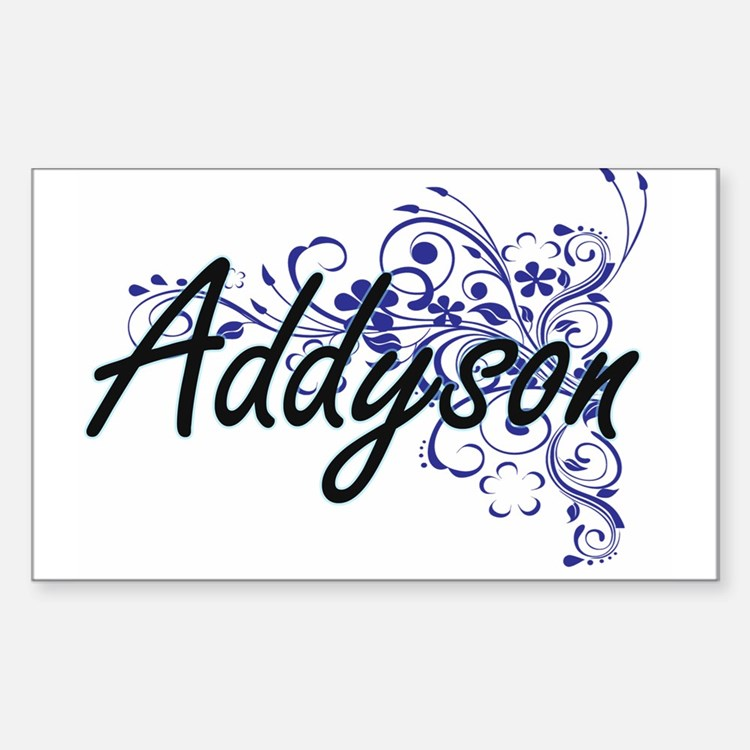 Addyson Artistic Name Design with Flowers Decal