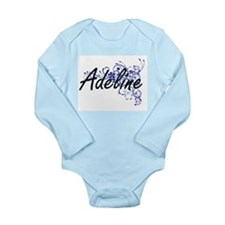 Adeline Artistic Name Design with Flower Body Suit