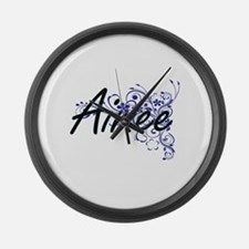 Aimee Artistic Name Design with F Large Wall Clock
