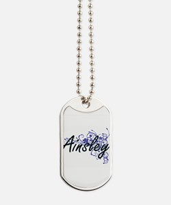 Ainsley Artistic Name Design with Flowers Dog Tags
