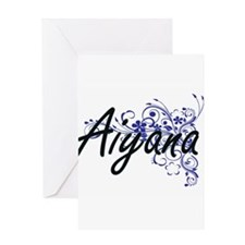 Aiyana Artistic Name Design with Fl Greeting Cards