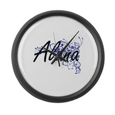 Alana Artistic Name Design with F Large Wall Clock