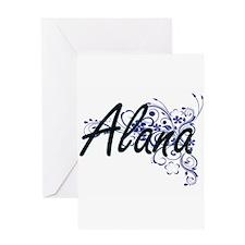 Alana Artistic Name Design with Flo Greeting Cards