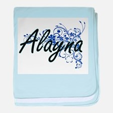 Alayna Artistic Name Design with Flow baby blanket