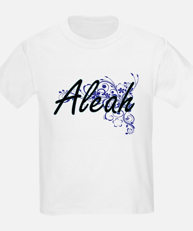 Aleah Artistic Name Design with Flowers T-Shirt