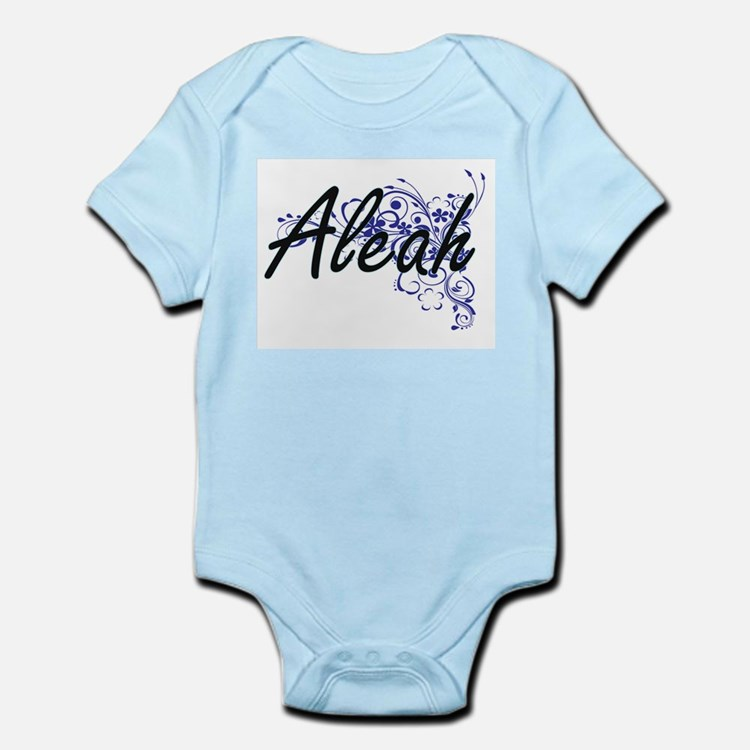 Aleah Artistic Name Design with Flowers Body Suit