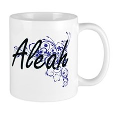 Aleah Artistic Name Design with Flowers Mugs