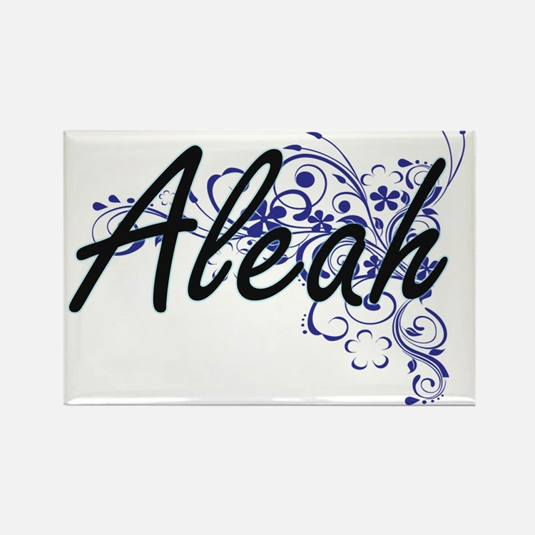 Aleah Artistic Name Design with Flowers Magnets