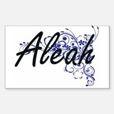 Aleah Artistic Name Design with Flowers Decal