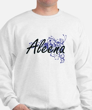 Aleena Artistic Name Design with Flower Sweater