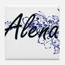 Alena Artistic Name Design with Flowe Tile Coaster