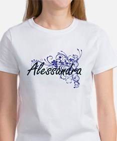 Alessandra Artistic Name Design with Flowe T-Shirt