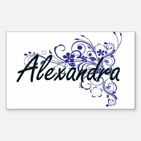 Alexandra Artistic Name Design with Flower Decal