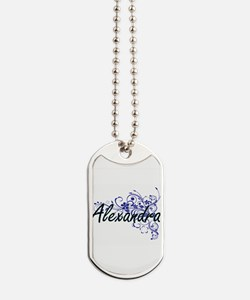 Alexandra Artistic Name Design with Flowe Dog Tags
