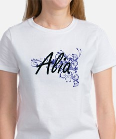 Alia Artistic Name Design with Flowers T-Shirt