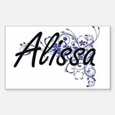 Alissa Artistic Name Design with Flowers Decal