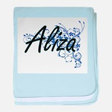 Aliza Artistic Name Design with Flowe baby blanket