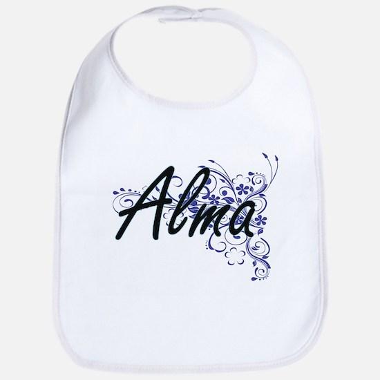 Alma Artistic Name Design with Flowers Bib