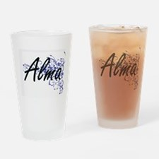 Alma Artistic Name Design with Flow Drinking Glass