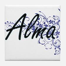Alma Artistic Name Design with Flower Tile Coaster