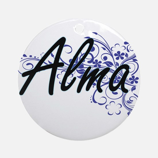 Alma Artistic Name Design with Flow Round Ornament